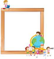 Kinderen op houten frame