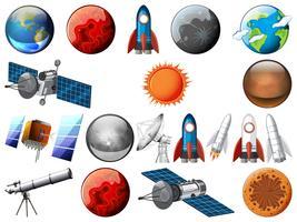 Set van ruimtevoorwerp vector