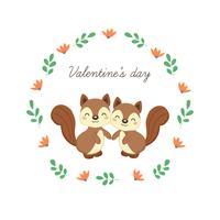 Happy Valentine's Day wenskaart met schattige eekhoorns verliefd.