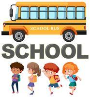 Student karakter met schoolbus