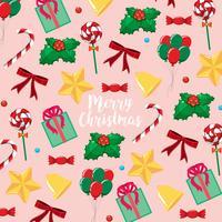 Merry Kerstkaartsjabloon met presenteert en snoep vector