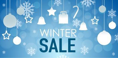 Winter verkoop posterontwerp met ornamenten vector