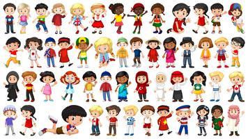 Set van multiculturele kinderen karakter vector