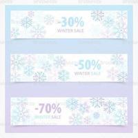 Sneeuwvlok winter verkoop banner vector pack