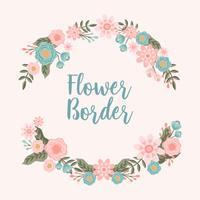 Hand getrokken bloem uitnodiging grens achtergrond - vectorillustratie