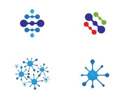 Van het het embleemmalplaatje van het moleculesymbool het vectorillustratieontwerp vector