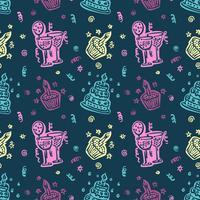 Gelukkige verjaardag Hand getrokken patroon achtergrond vector