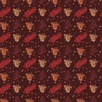 Gelukkige verjaardag hand getrokken patroon achtergrond met bruine kleur vector