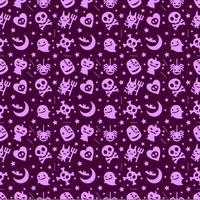 schattige halloween patroon achtergrond met paarse kleur vector