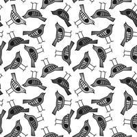 vogel hand getrokken patroon achtergrond met donkere kleur