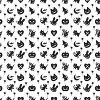 schattig hallowen patroon achtergrond met donkere kleur vector