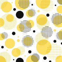Abstract modern geel, zwart puntenpatroon met lijnen diagonaal op witte achtergrond.