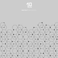 Abstracte technologie zwarte zeshoeken patroon en knooppunt verbinding op grijze achtergrond