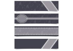 Houtskool Kant Banner Vector Pack