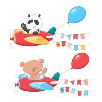 Set van cartoon schattige dieren panda en beer op vliegtuigen kinderen clipart. vector