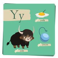 Kleurrijk alfabet voor kinderen - brief Y