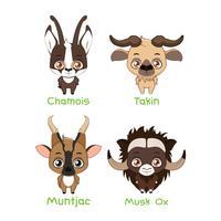 Set van verschillende herbivoren met hoorns