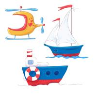 Stel cartoon schattig vervoer voor kinderen s clipart steamer, steamboat en helikopter. vector