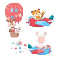Stel cartoon schattige dieren tiger deer en lama op een vliegtuig en ballon kinderen clipart. vector