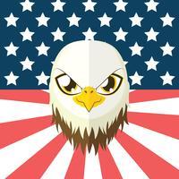 Eagle in vlakke stijl met de vlag van de VS op de achtergrond vector