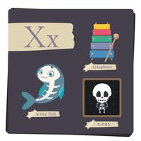 Kleurrijk alfabet voor kinderen - Brief X vector