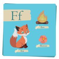 Kleurrijk alfabet voor kinderen - brief F vector