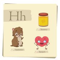 Kleurrijk alfabet voor kinderen - brief H vector