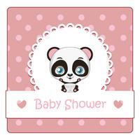 Babydouche kaart met schattige kleine panda vector