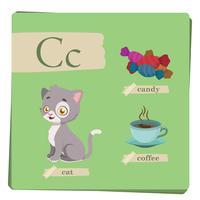Kleurrijk alfabet voor kinderen - brief C vector