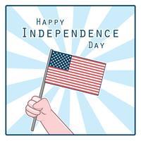 Groet met hand die de nationale vlag van de VS houdt