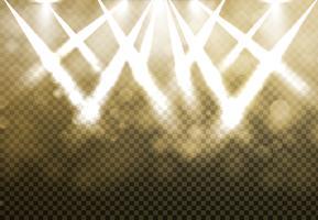 Glanzende Gouden discoschijnwerpers met blured bokeh op transparantieachtergrond.