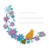 Mooie blocnotemalplaatje met vogel en bloemontwerp vector