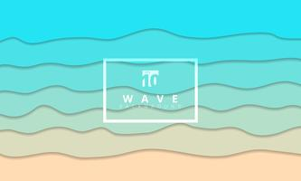 Abstracte zomer Golf blauwe zeekust achtergrond papier knippen stijl. vector