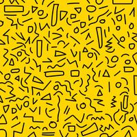 Hand tekenen zwarte geometrische memphis patroon 80's-90 stijlen op gele achtergrond.