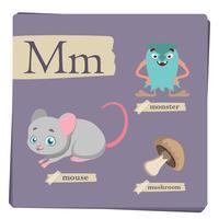 Kleurrijk alfabet voor kinderen - Brief M vector