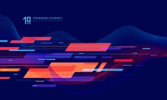Abstracte geometrische technologie en draai lijnen kleurrijk op donkerblauwe achtergrond.