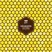Abstract zeshoekenpatroon op borstelhand trekt gele achtergrond.