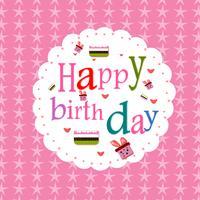 Gelukkige verjaardag briefkaart witte kleur frame vectorillustratie op roze sterpatroon achtergrond.