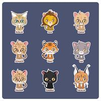 Leuke illustratie van vier verschillende grote katten