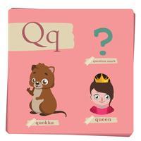 Kleurrijk alfabet voor kinderen - Letter Q vector