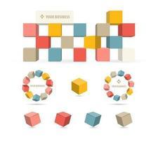 3d zakelijke blok vector pakket