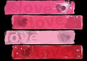 Grungy liefde banner vector pack