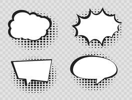 Komische tekstballonnen op halftone transparante achtergrond. vector
