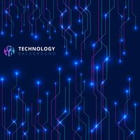 Abstracte technologielijnen met verlichting gloeien futuristisch op donkerblauwe achtergrond.
