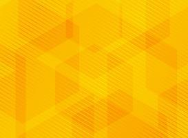 Abstracte geometrische zeshoeken gele achtergrond met gestreepte lijnen.