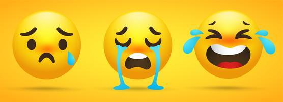 Emoji-verzameling die emoties, verdriet, huilen op een gele achtergrond vertoont.