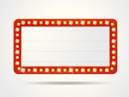 Vectoretiketterijsten van lege retro lichte dozen voor het opnemen van uw tekst.