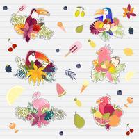 Zomer prints, stickers, zomer tropische banner palm verlaat vogels vector afbeelding.