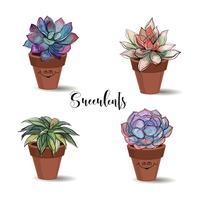 Vetplanten in kleipotten. Set. Afbeeldingen met waterverf. Vector.