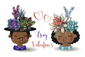 Fijne Valentijnsdag. Jongen en meisje met bloemen vetplanten. Waterverf. Vector.
